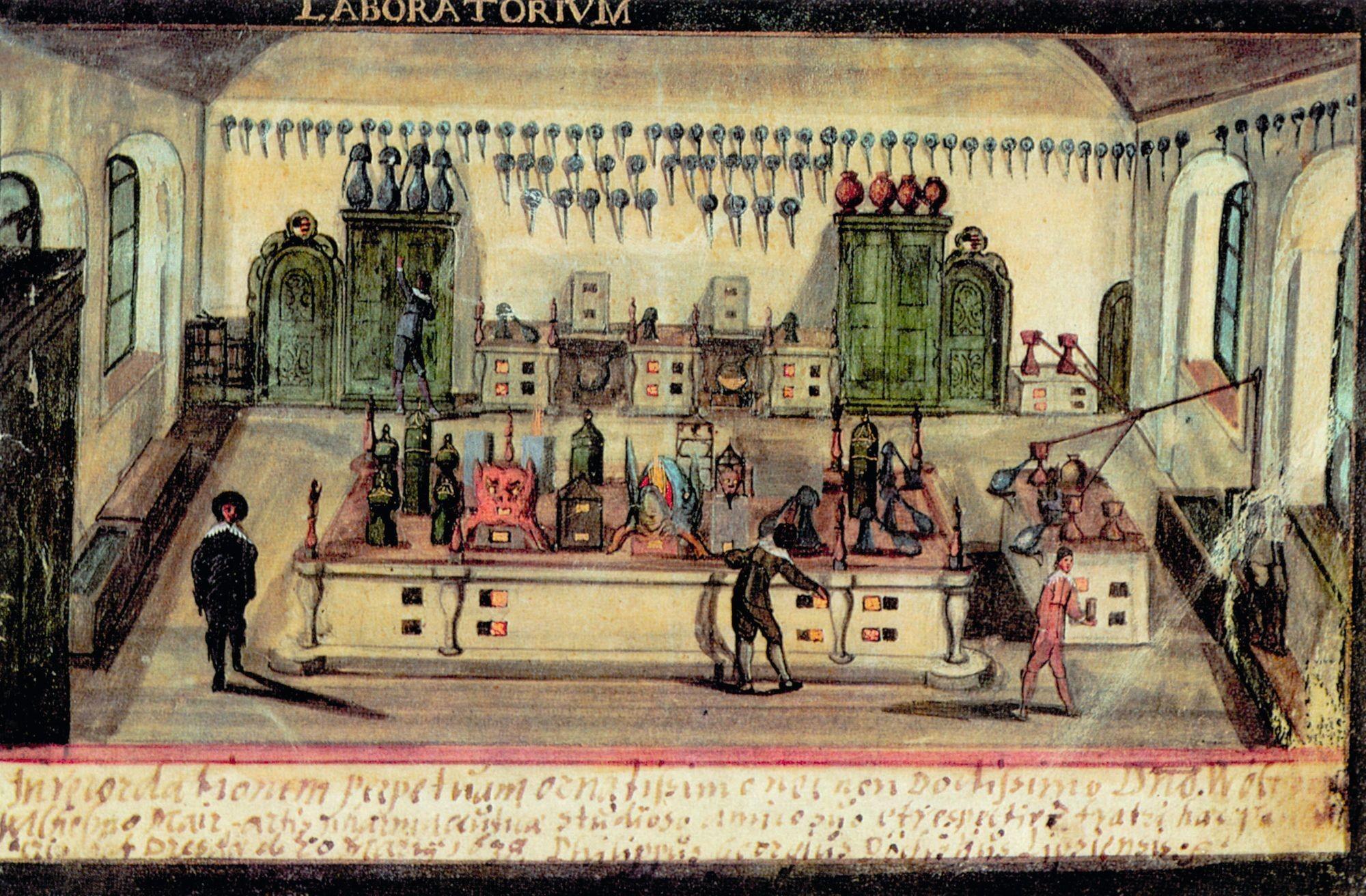 Un laboratoire au XVIIe siècle