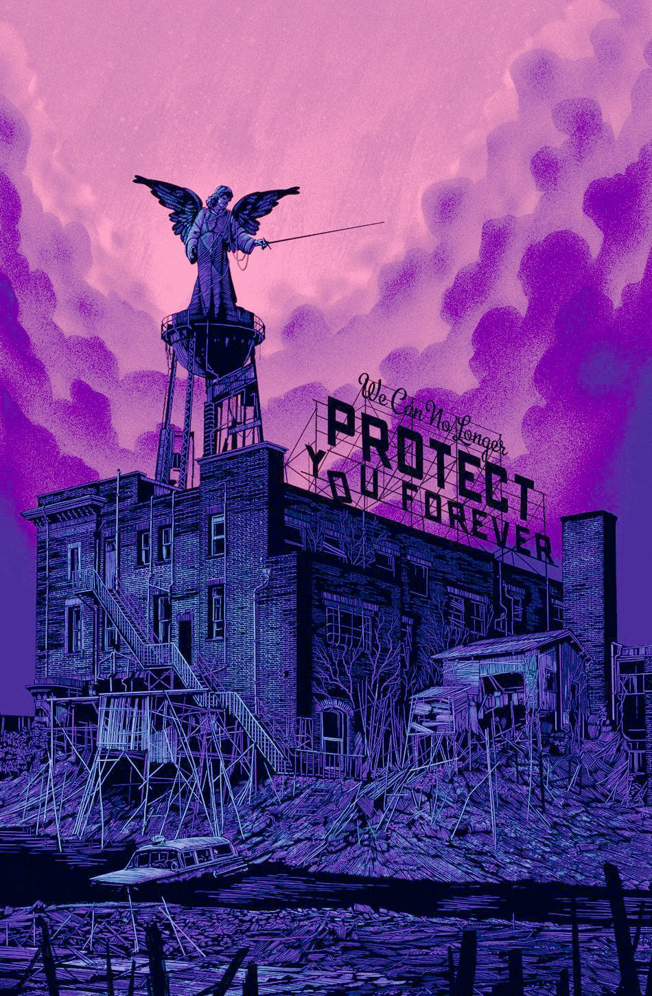 Daniel Danger, We can no longer protect you forever, 2014, sérigraphie.