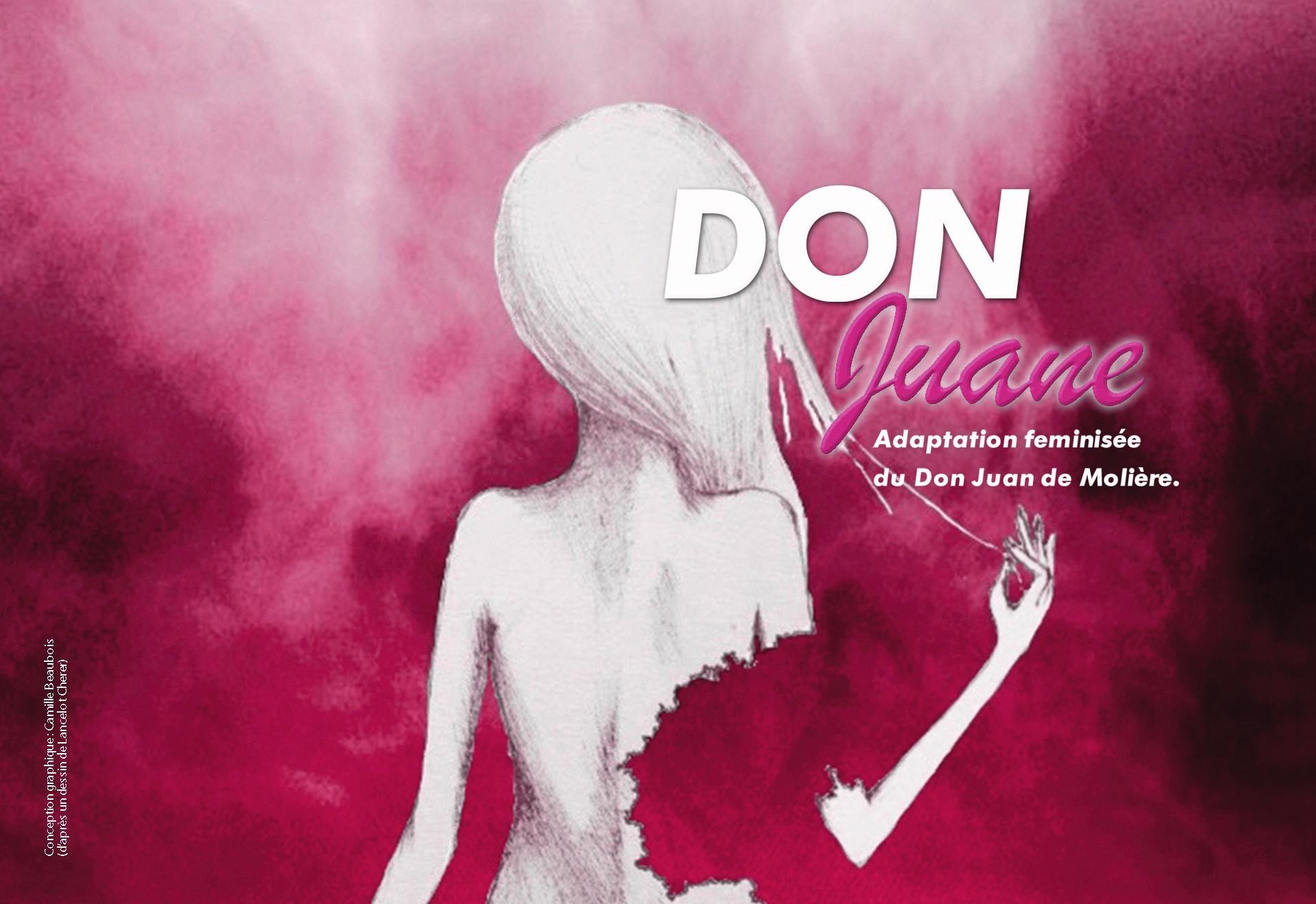 Affiche du spectacle Don Juane, mise en scène d'Emmanuelle Erambert Dupuy, 2018.