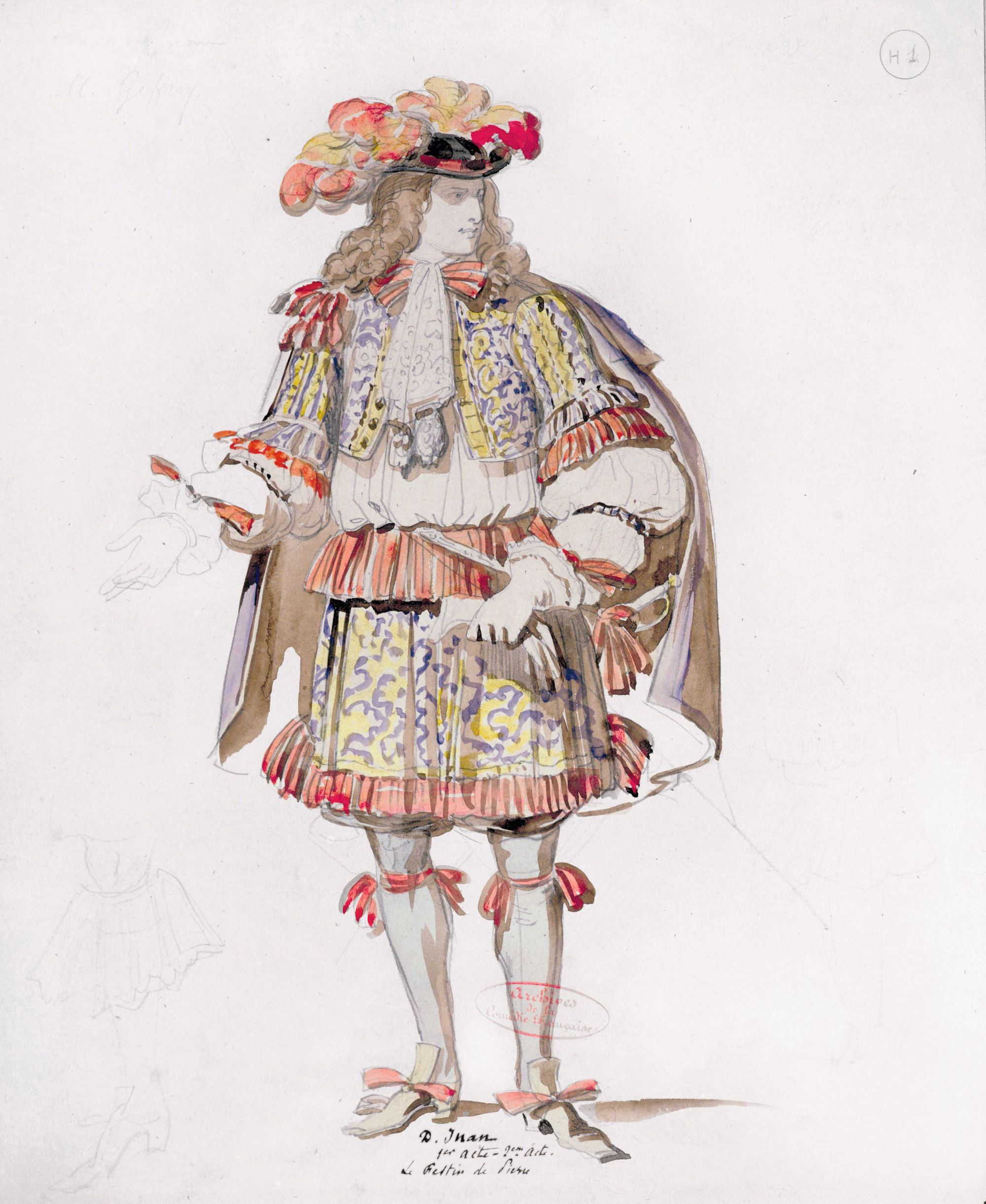 Achille Deveria, dessin pour le costume de Dom Juan, 1847.