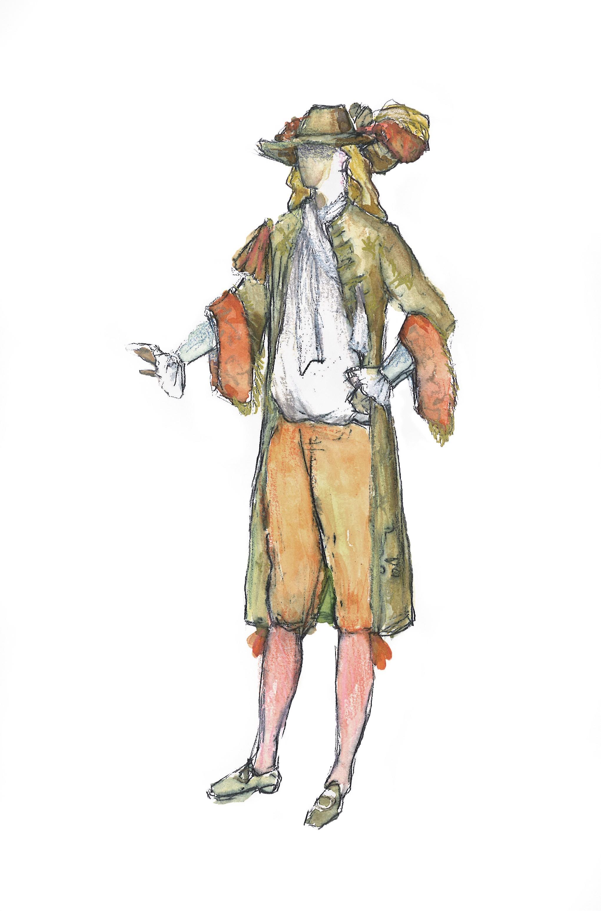 Patrice Cauchetier, croquis du costume de Dom Juan, Comédie-Française, 2012.