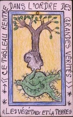 Frédéric Bruly-Bouabré, « Les végétaux et la terre » (série Connaissance du monde), 1991, dessin au crayon de couleur et stylo à bille sur carton, 15×10 cm.