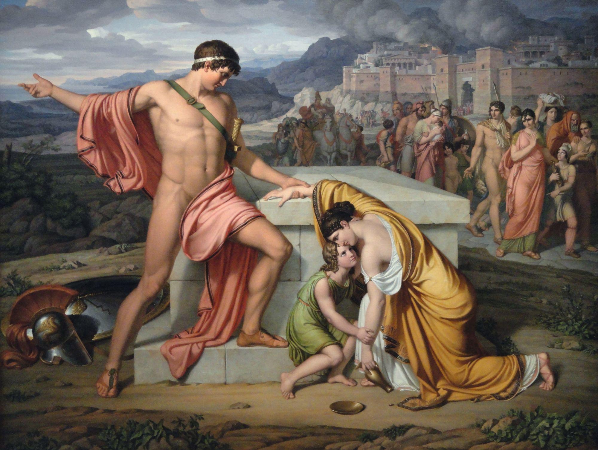 Johan Ludwig Lund, Pyrrhus et Andromaque sur la tombe d'Hector, 1807 - 1811, Galerie nationale du Danemark, Copenhague.