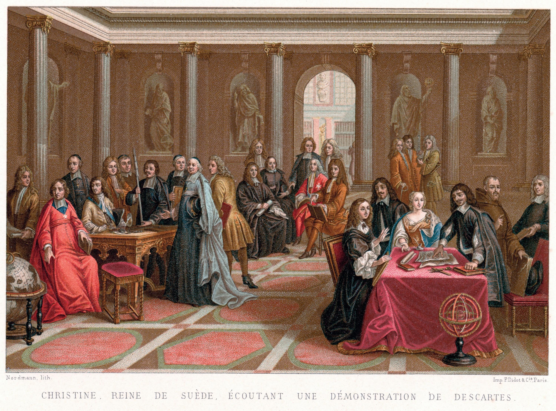 Pierre-Louis Dumesnil, Christine de Suède écoutant une démonstration de René Descartes, 1700, huile sur toile, 97 x 126 cm, musée national, Versailles.