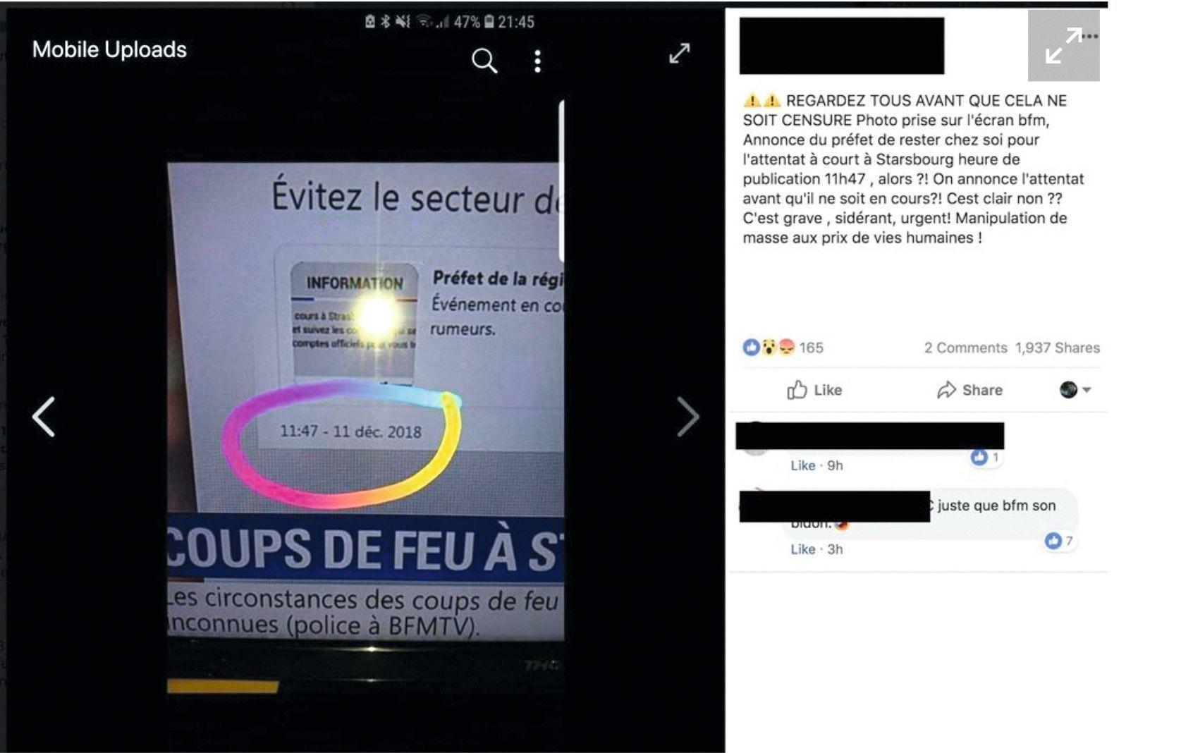 Post Facebook relayant la photo d'un écran diffusant un reportage de BFMTV dans lequel apparaît un tweet du préfet de la région Grand-Est.