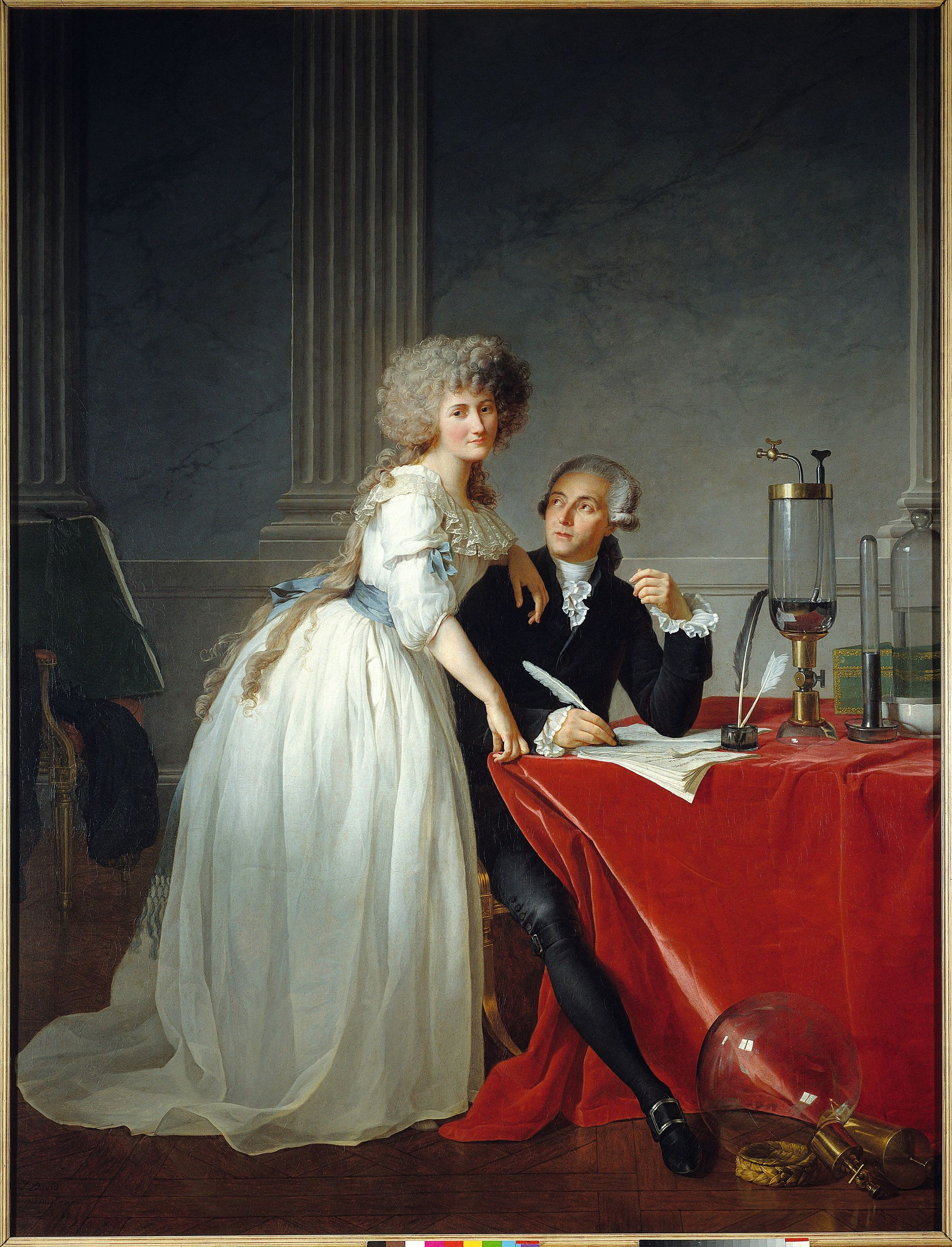 Jacques-Louis David, Portrait d'Antoine-Laurent et Marie-Anne Lavoisier, 1788, huile sur toile (détail), 259 x 195 cm, Metropolitan Museum of Art, New York.