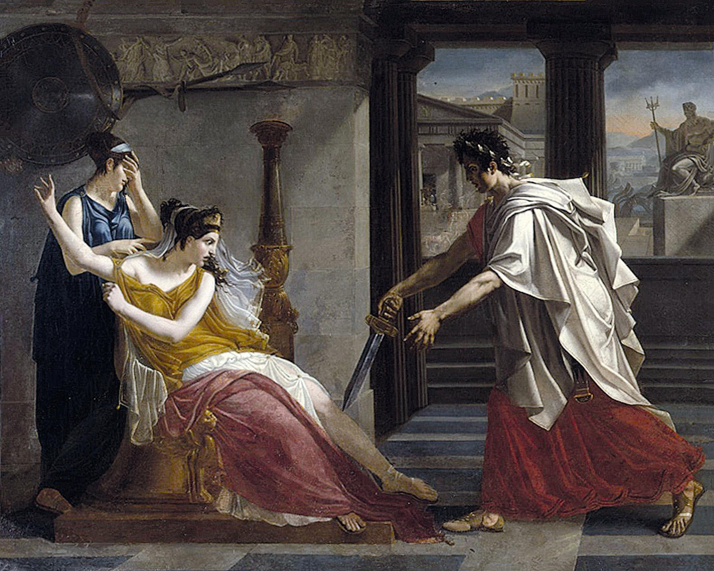 Pierre-Narcisse Guérin, Hermione rejetant Oreste, vers 1800, huile sur toile, musée des Beaux-Arts de Caen.