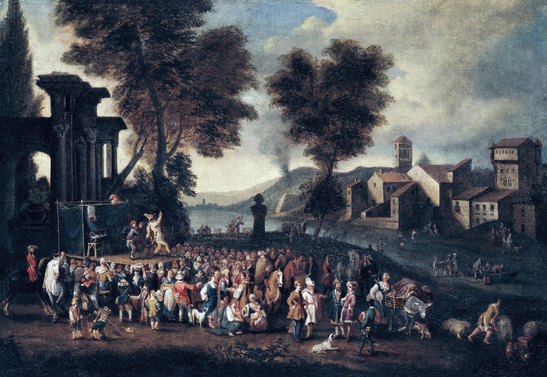 Peeter van Bredael, Scène de la Commedia dell'arte dans un paysage italien.