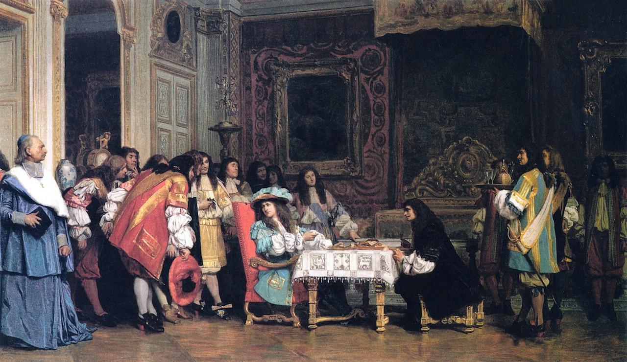 Jean-Léon Gérôme, Louis XIV et Molière, 1862, huile sur bois, Bibliothèque de Malden, États-Unis.