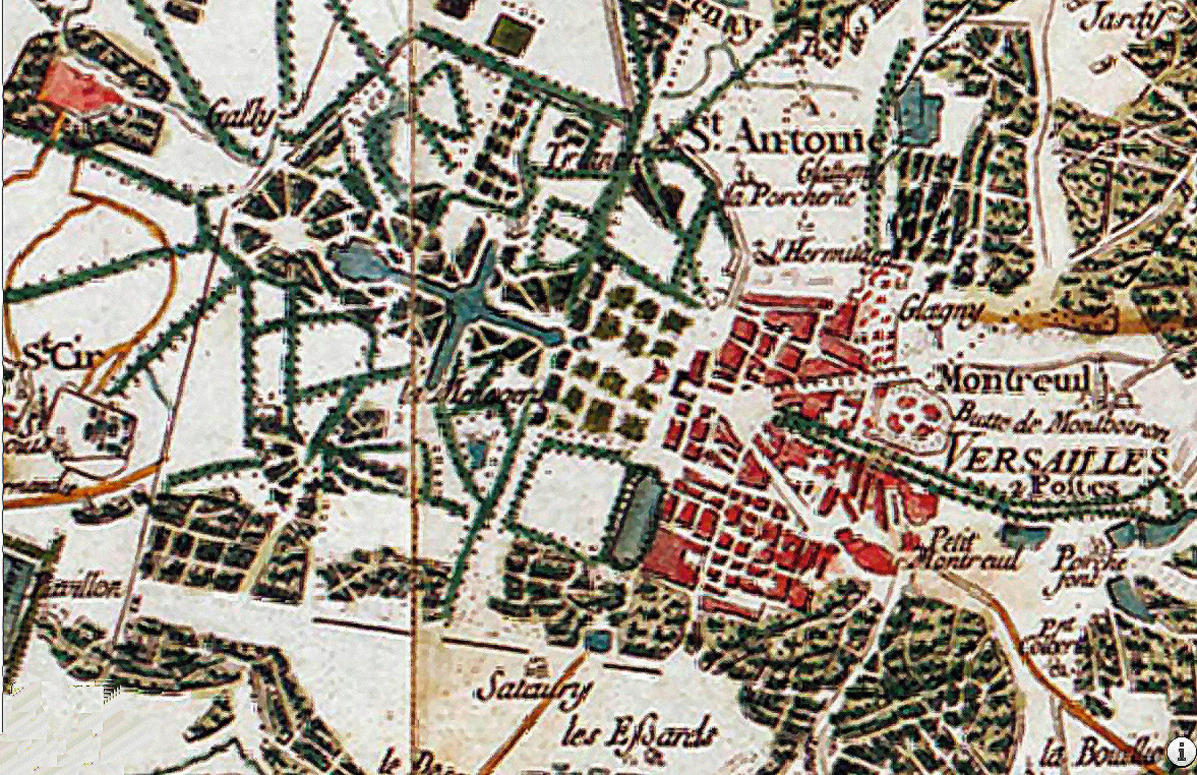 Détail de la carte de Cassini représentant Versailles (la ville et le château), 1756.