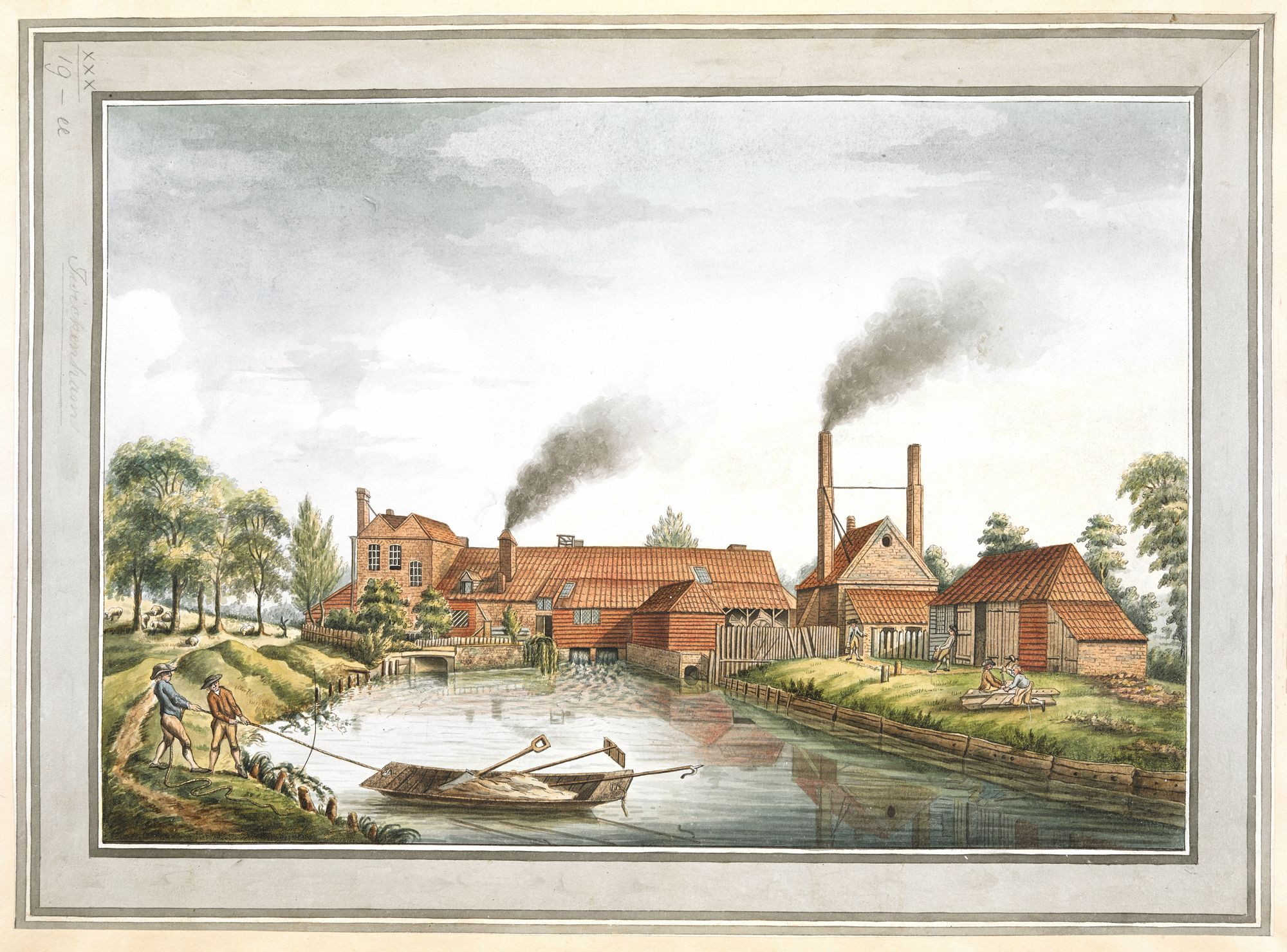 Anonyme, A drawn View of the Copper Mills on Twickenham Common, 1795, dessin, 31,5 x 43,5 cm, British Library, Londres