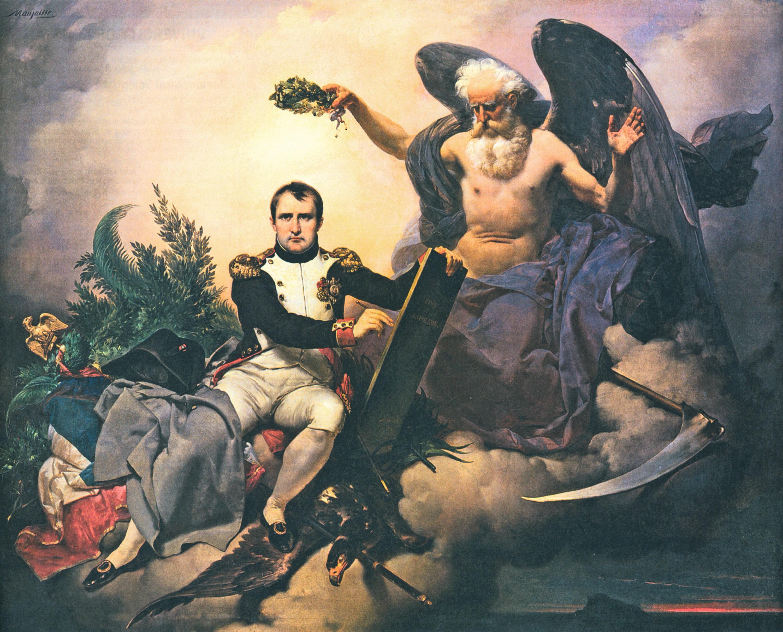 Napoléon Ier, couronné par le Temps, écrit le Code civil
