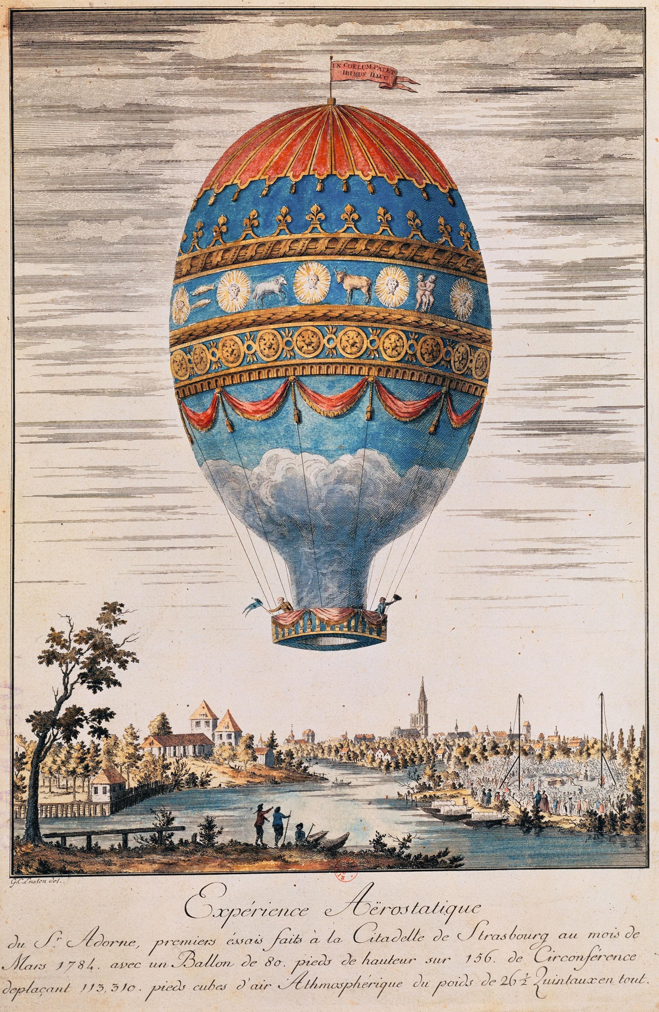 Johann Carl Enslen, Expérience aérostatique faite à la citadelle de Strasbourg en mars 1784, gravure sur cuivre coloriée, 1784, 31 x 22,8 cm, BnF, Paris.