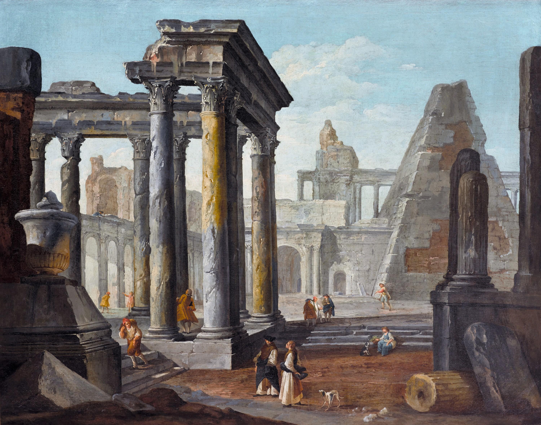 Robert Hubert, Caprice avec ruines romaines, XVIIIe siècle, huile sur toile, 100 x 127 cm, fondation Bemberg, Toulouse.