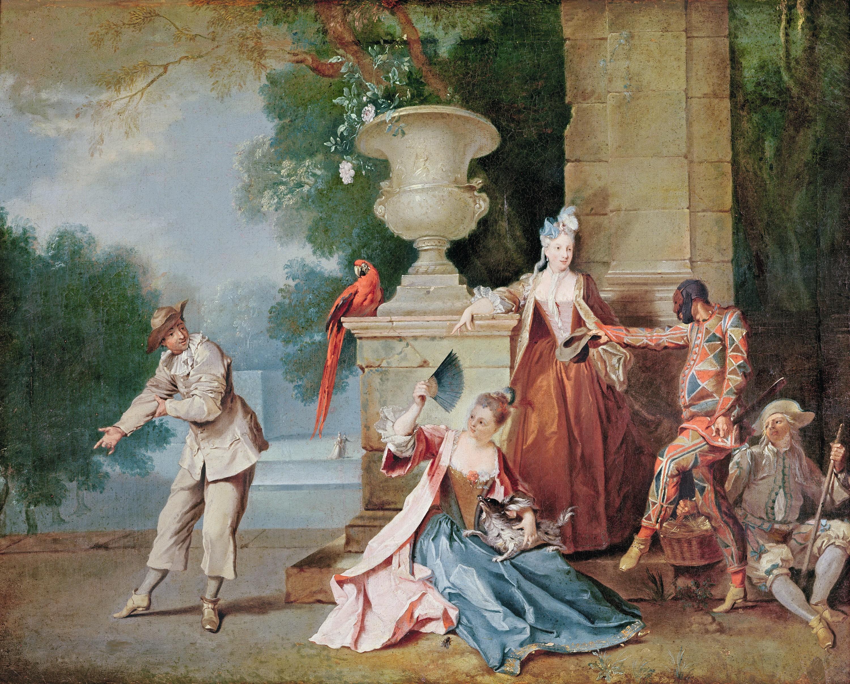 Jean-Baptiste Oudry, Comédiens italiens dans un parc, vers 1710