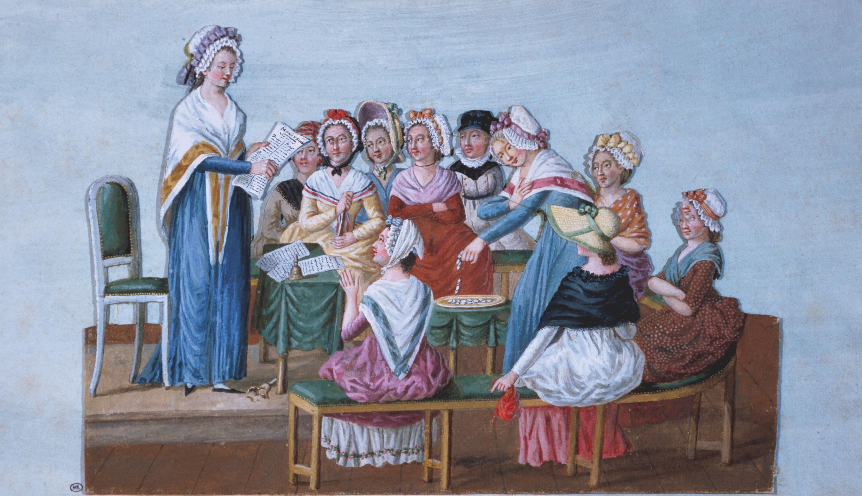 Jean-Baptiste Lesueur, Club patriotique de femmes, 1791, gouache, musée Carnavalet, Paris.