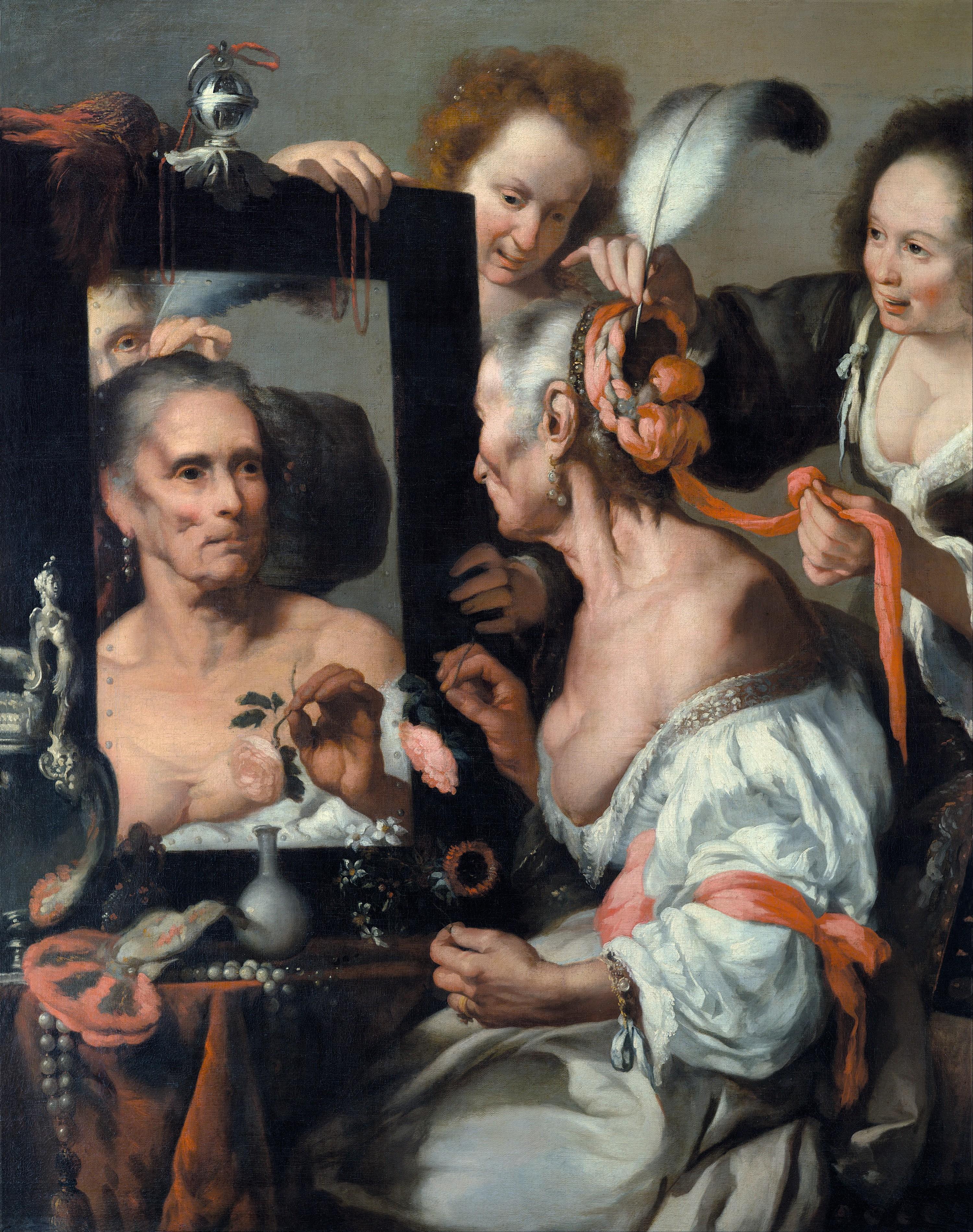 Bernardo Strozzi, Allégorie de la Vanité ou Vieille coquette, vers 1637, musée Pouchkine, Moscou.