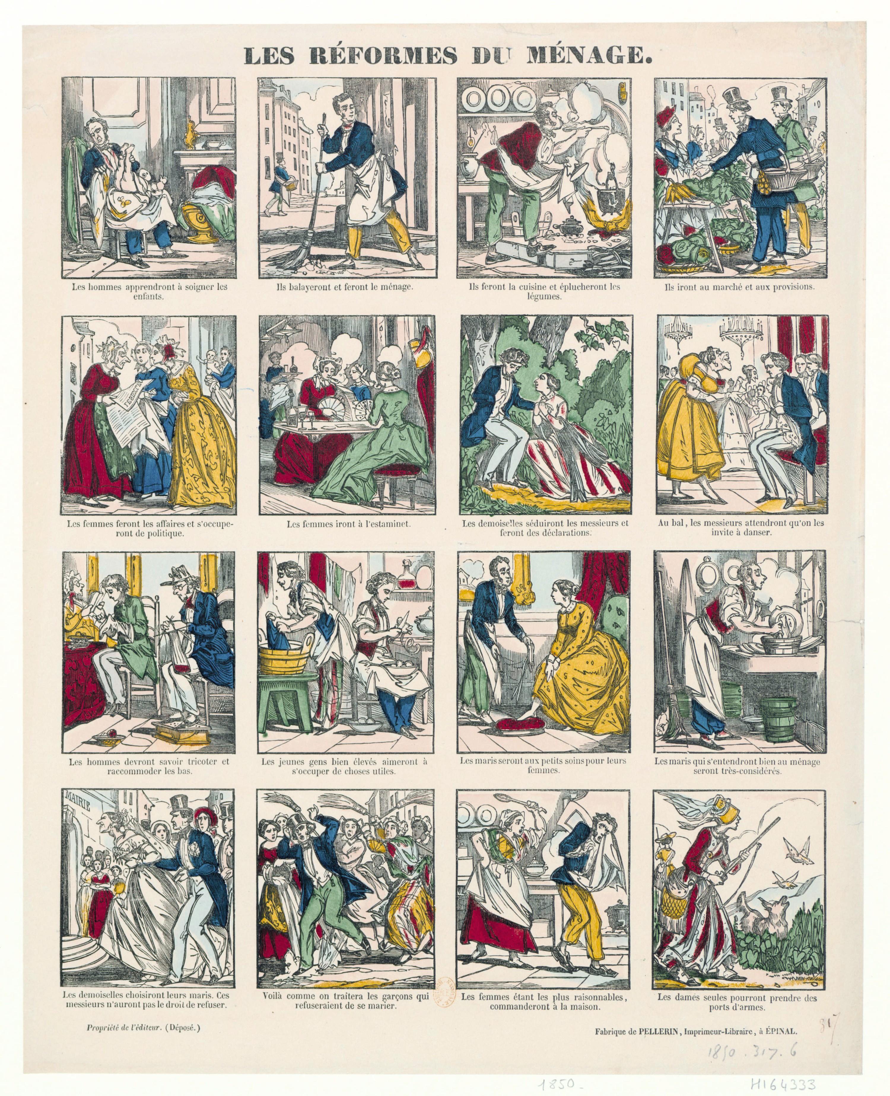 Les réformes du ménage, 1850, estampe populaire, BnF, Paris.