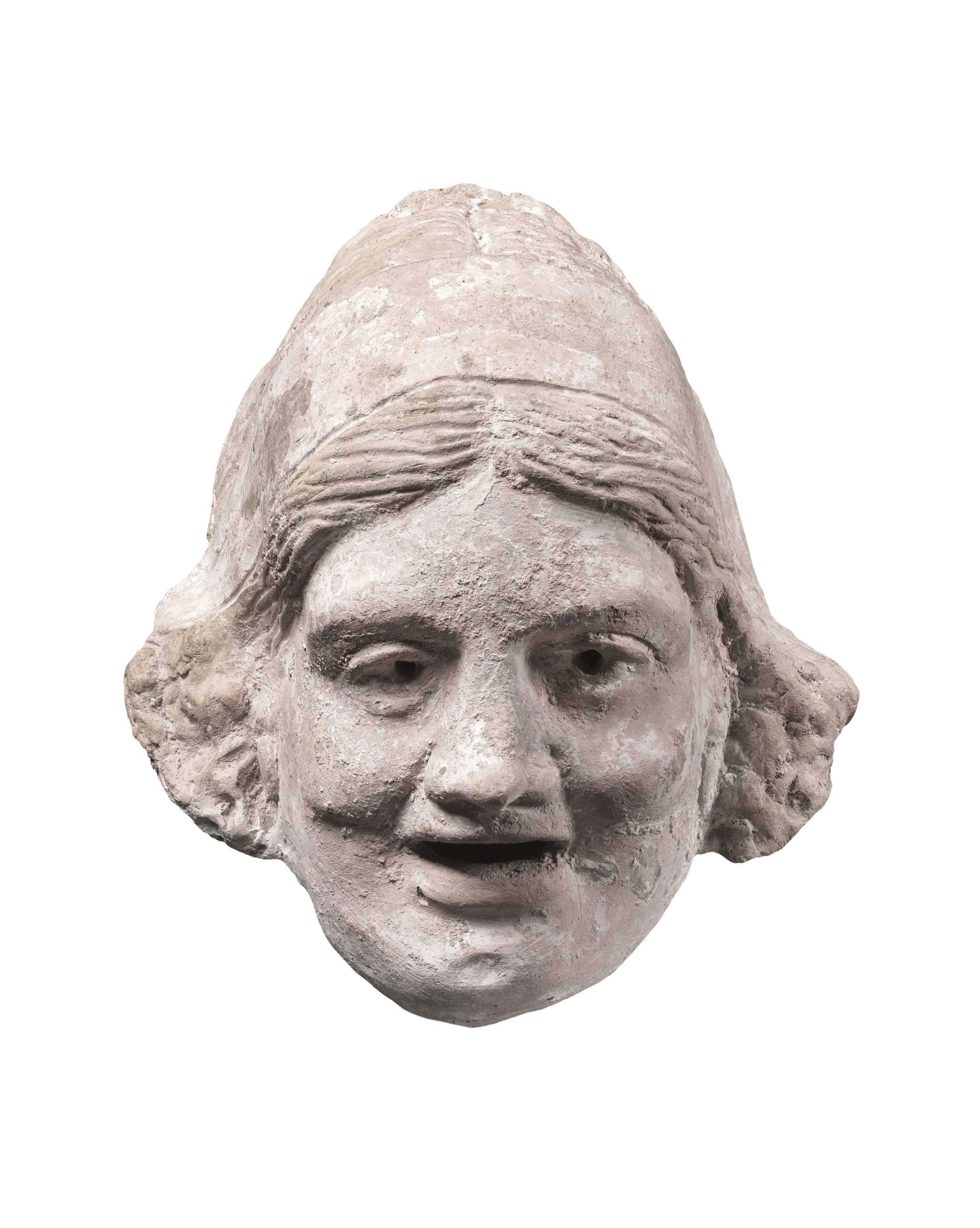 Masque d'une courtisane pour la comédie dans la Grèce antique, IIe siècle av. J.-C., Museum of Fine art, Boston.
