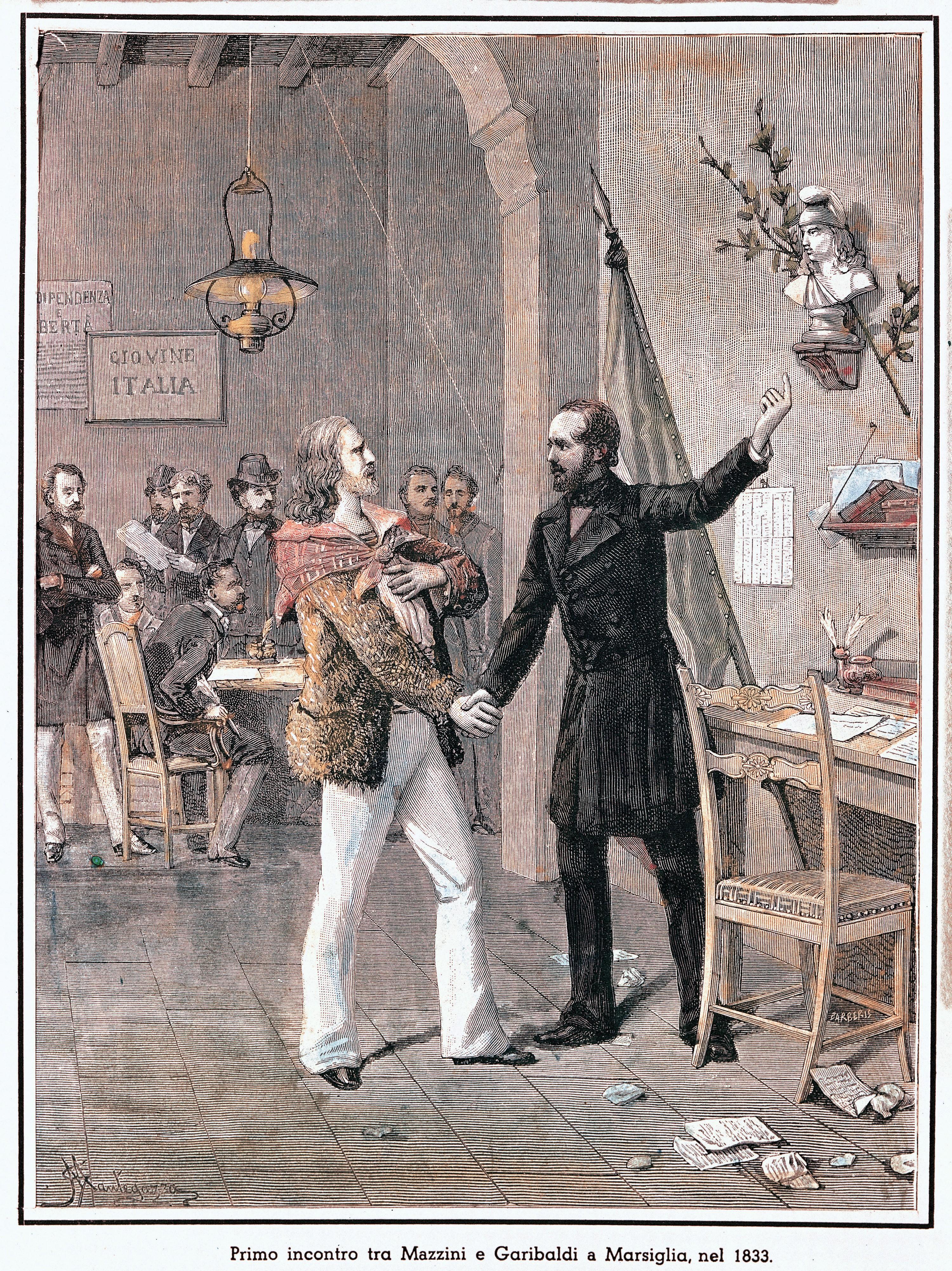 Anonyme, Première rencontre entre Giuseppe Garibaldi et Giuseppe Mazzini, v. 1833, gravure.