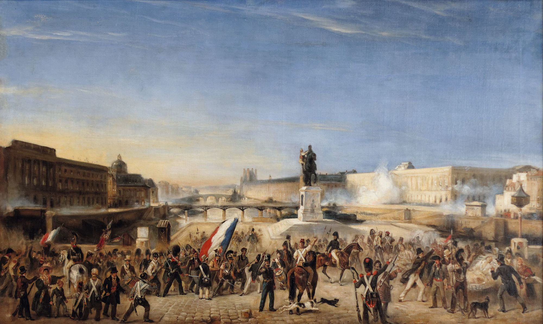 Anonyme, Combats sur le Pont-Neuf en 1830, v. 1830, huile sur toile.