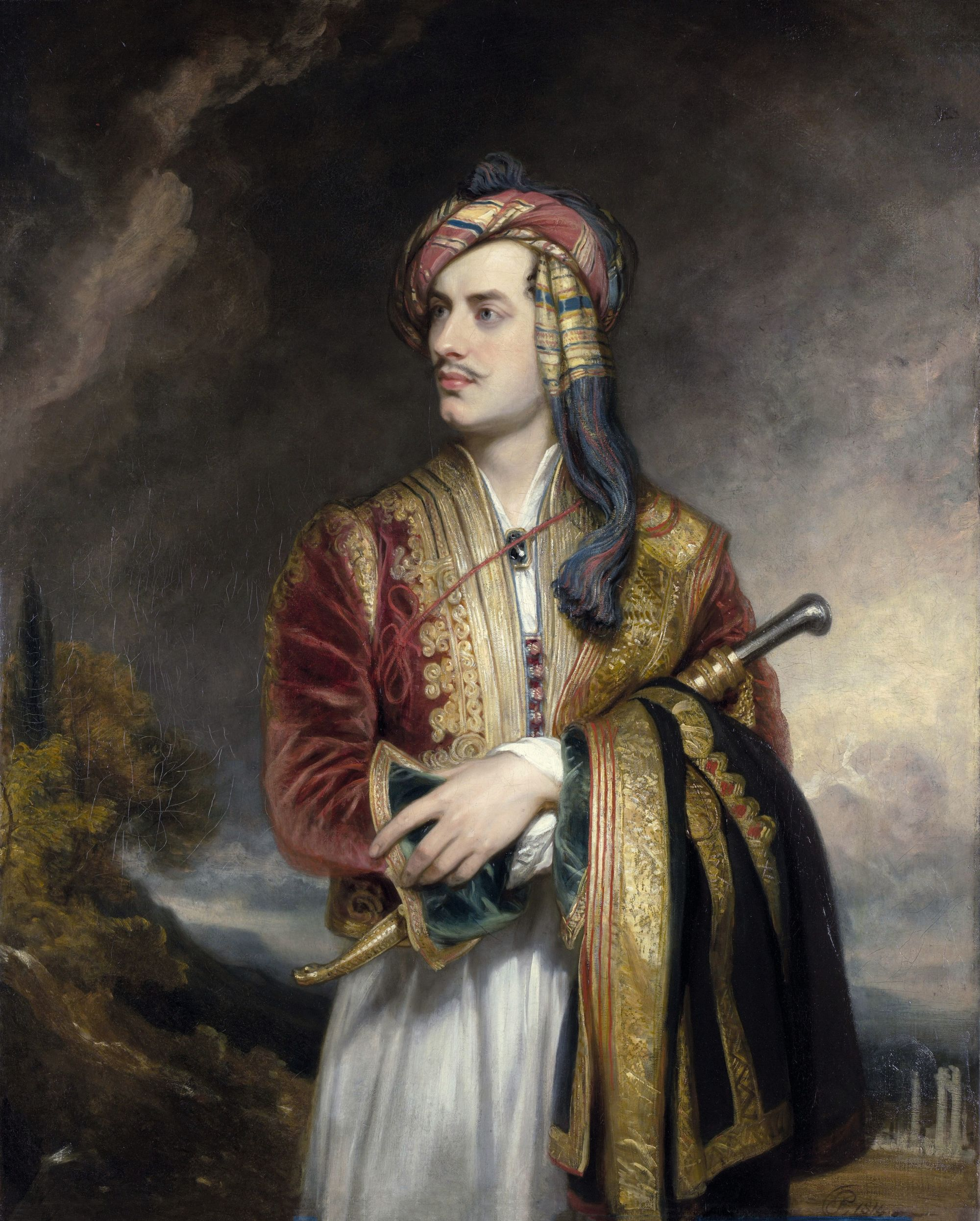 Thomas Phillips, Lord Byron en costume albanais, 1813, huile sur toile, 76,5 x 63,9 cm, National Portrait Gallery, Londres.