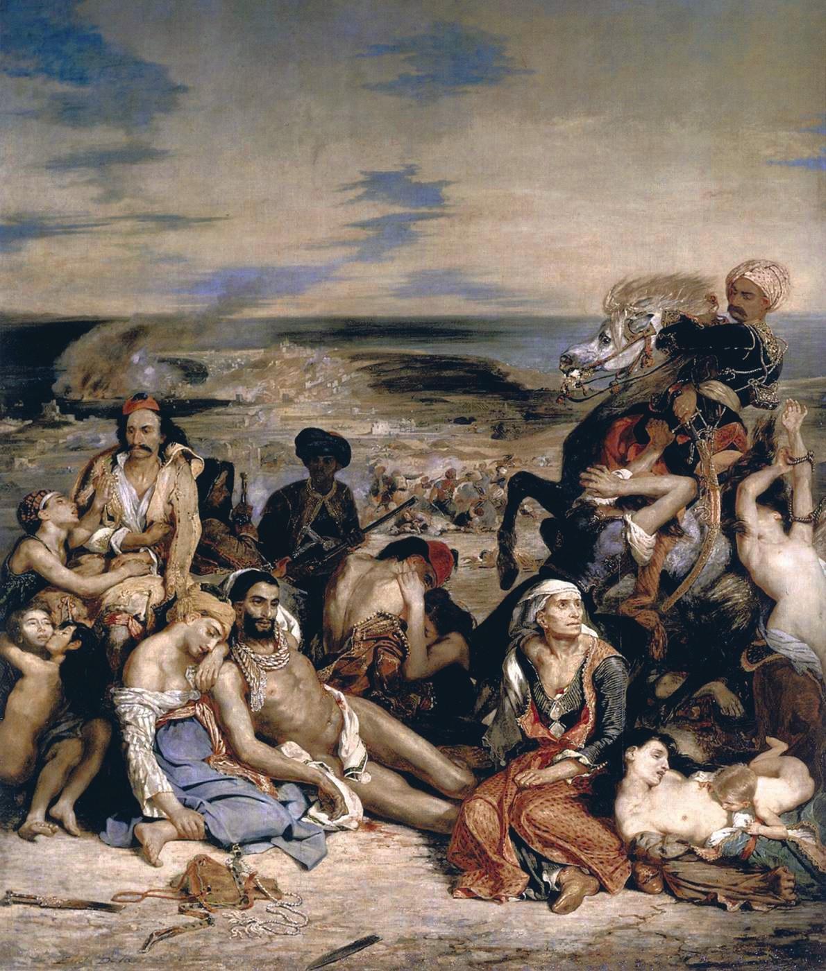 Eugène Delacroix, Scène des massacres de Scio, 1824, huile sur toile, 419 x 354 cm, musée du Louvre, Paris.