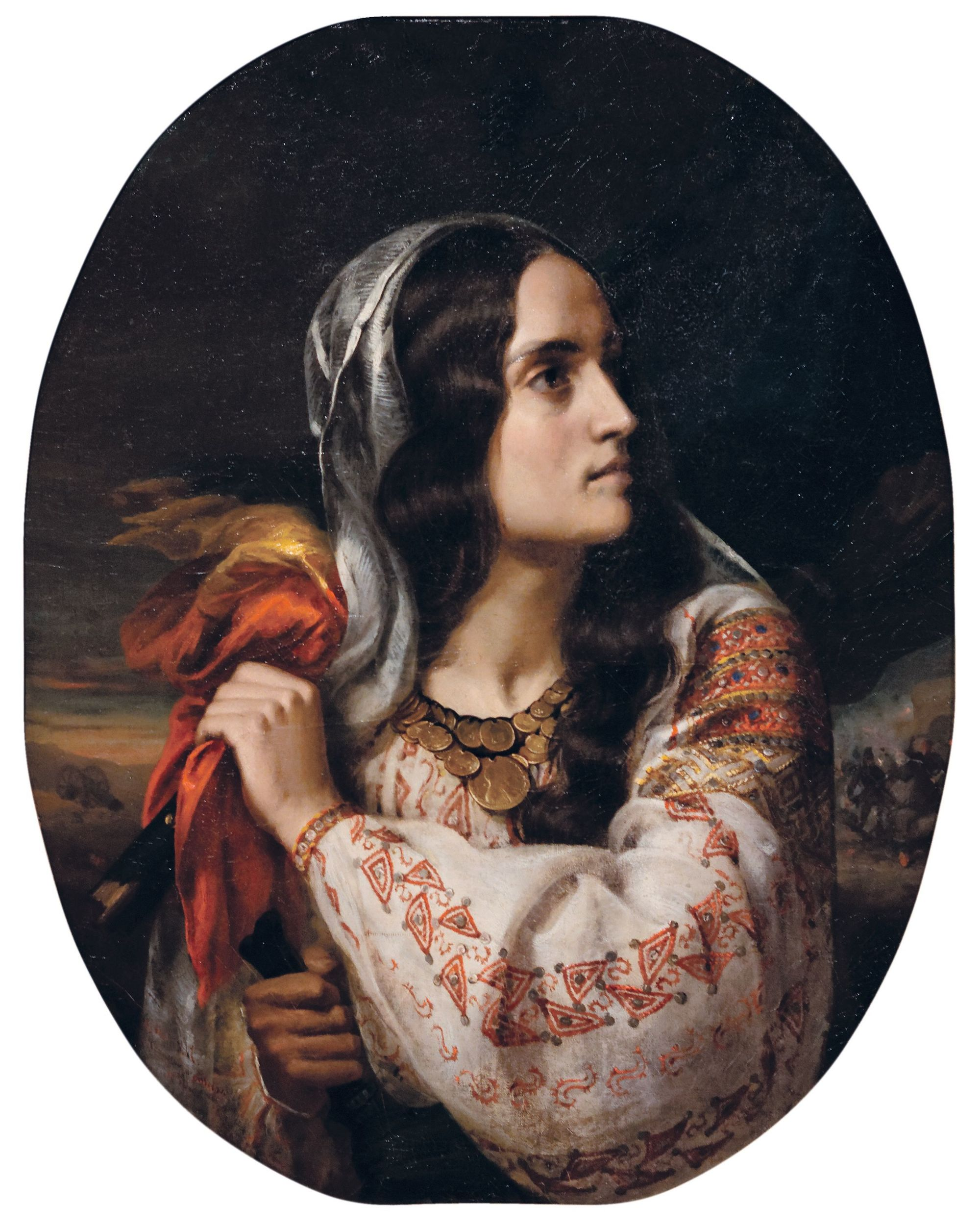 Constantin Daniel Rosenthal, Allégorie de la Roumanie, 1848, huile sur toile, 78,5 x 63,5 cm, musée national d'Art de Roumanie, Bucarest.