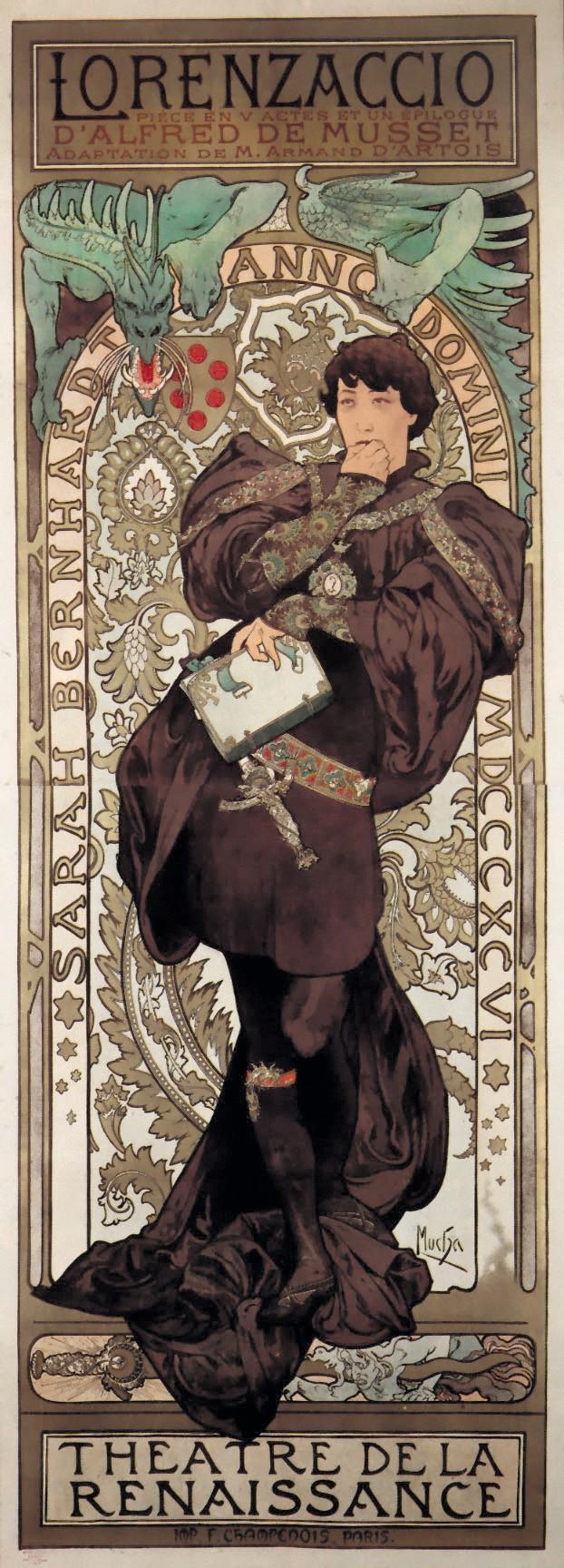 Alfons Mucha, affiche de la pièce Lorenzaccio, 1896