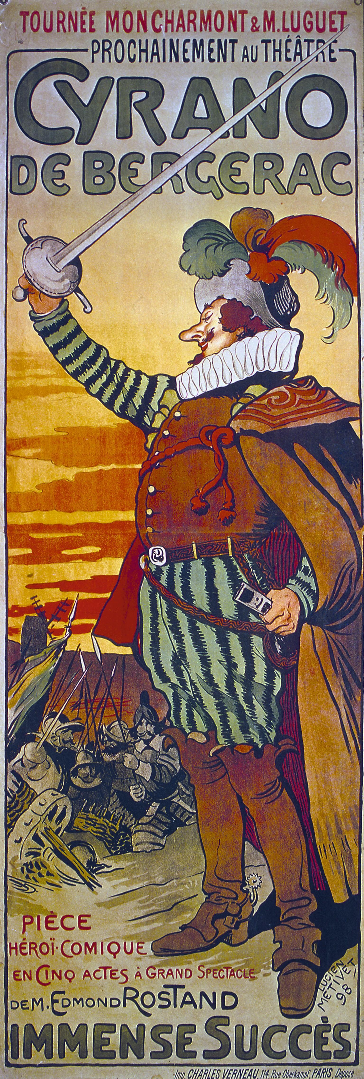 Lucien Métivet, affiche de la pièce Cyrano de Bergerac, 1898