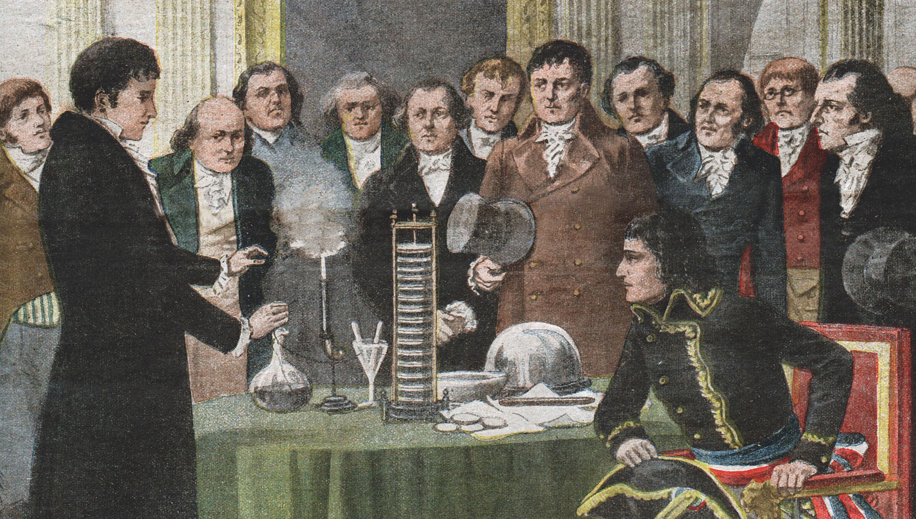Présentation à Napoléon Bonaparte de la pile Volta par son inventeur en 1800