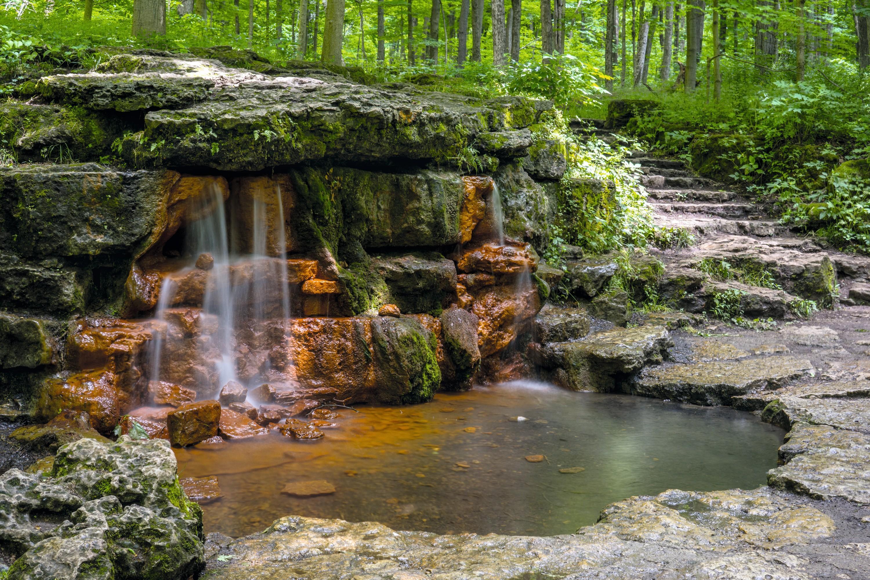 Source colorée par l'oxyde de fer (John Bryan State Park, États-Unis)
