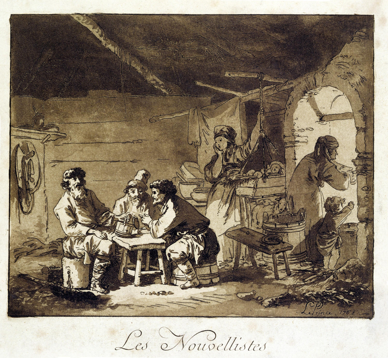 Jean-Baptiste Le Prince, Les Nouvellistes, 1768, gravure à l'eau-forte