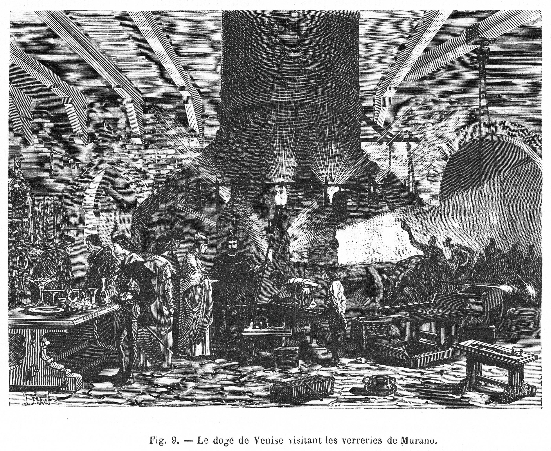Gravure de la fabrique de verre de Murano.