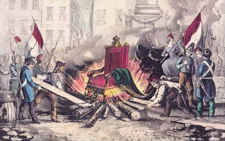 Anonyme, Le trône de Louis-Philippe est brûlé pendant la révolution, 1848, gravure.