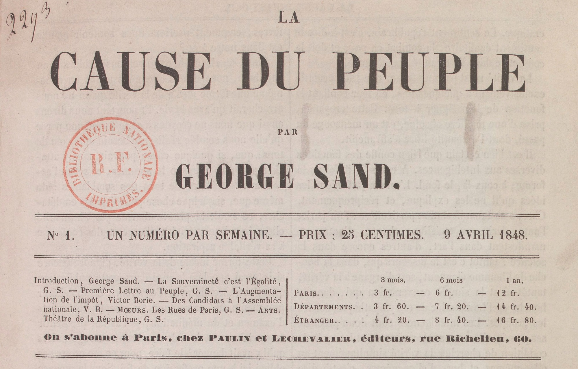 Journal La Cause du peuple, dirigé par George Sand