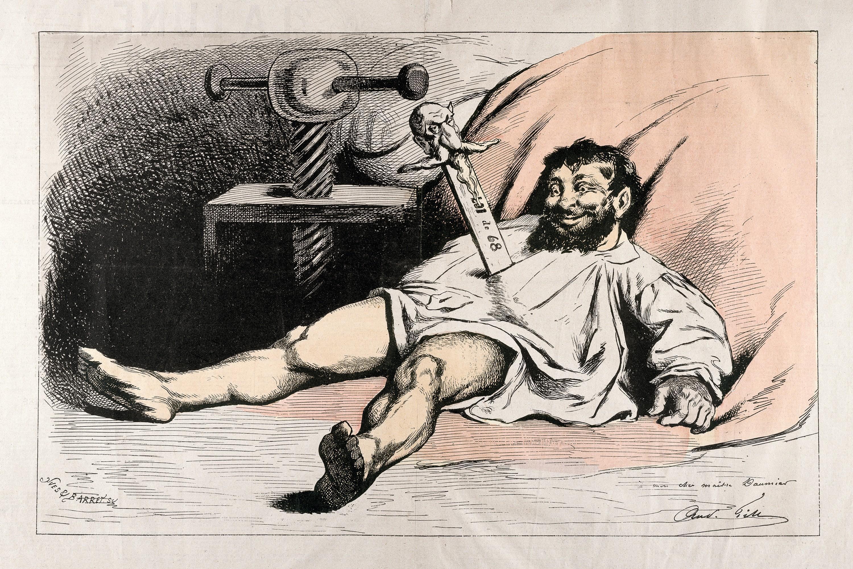 André Gill, Loi de 1868, Honoré Daumier poignardé par Napoléon III