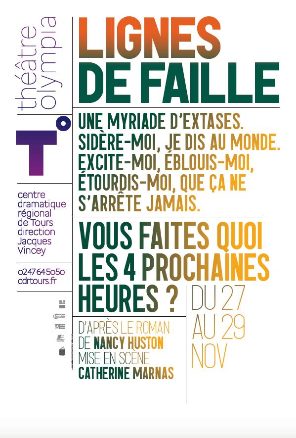 Affiche pour l'adaptation théâtrale de Lignes de faille, mise en scène de Catherine Marnas, 2010, Théâtre Olympia, Tours.