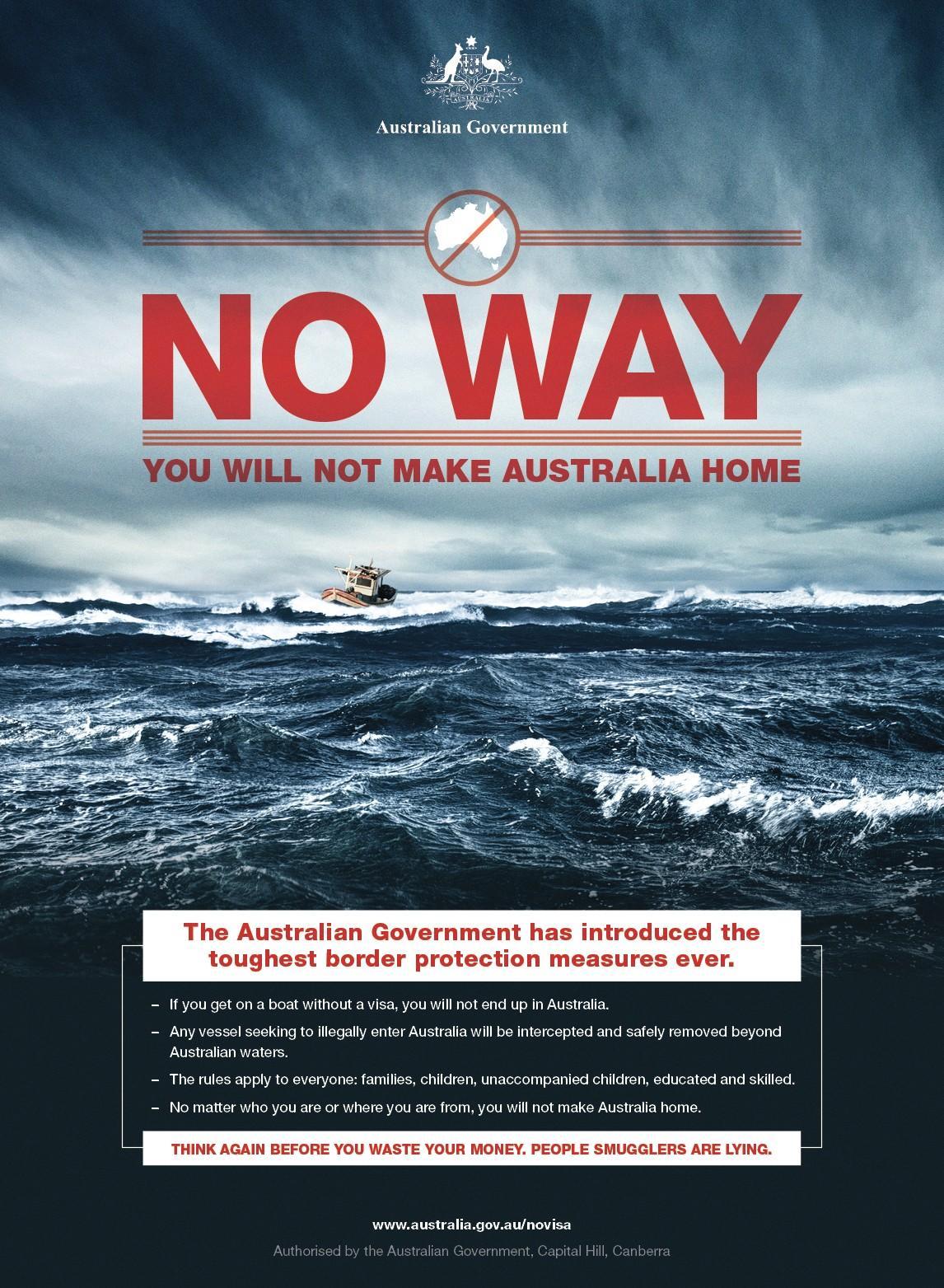 Affiche diffusée par le gouvernement australien
