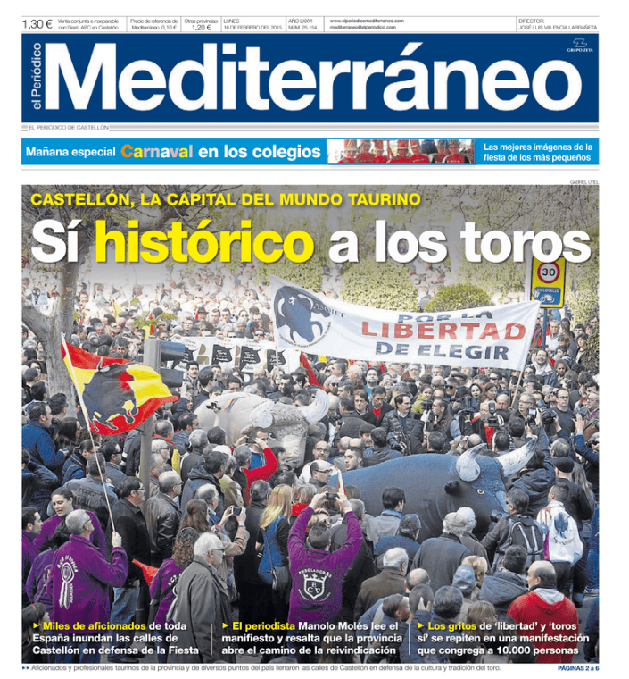 Portada del periódico Mediterráneo, 2015.