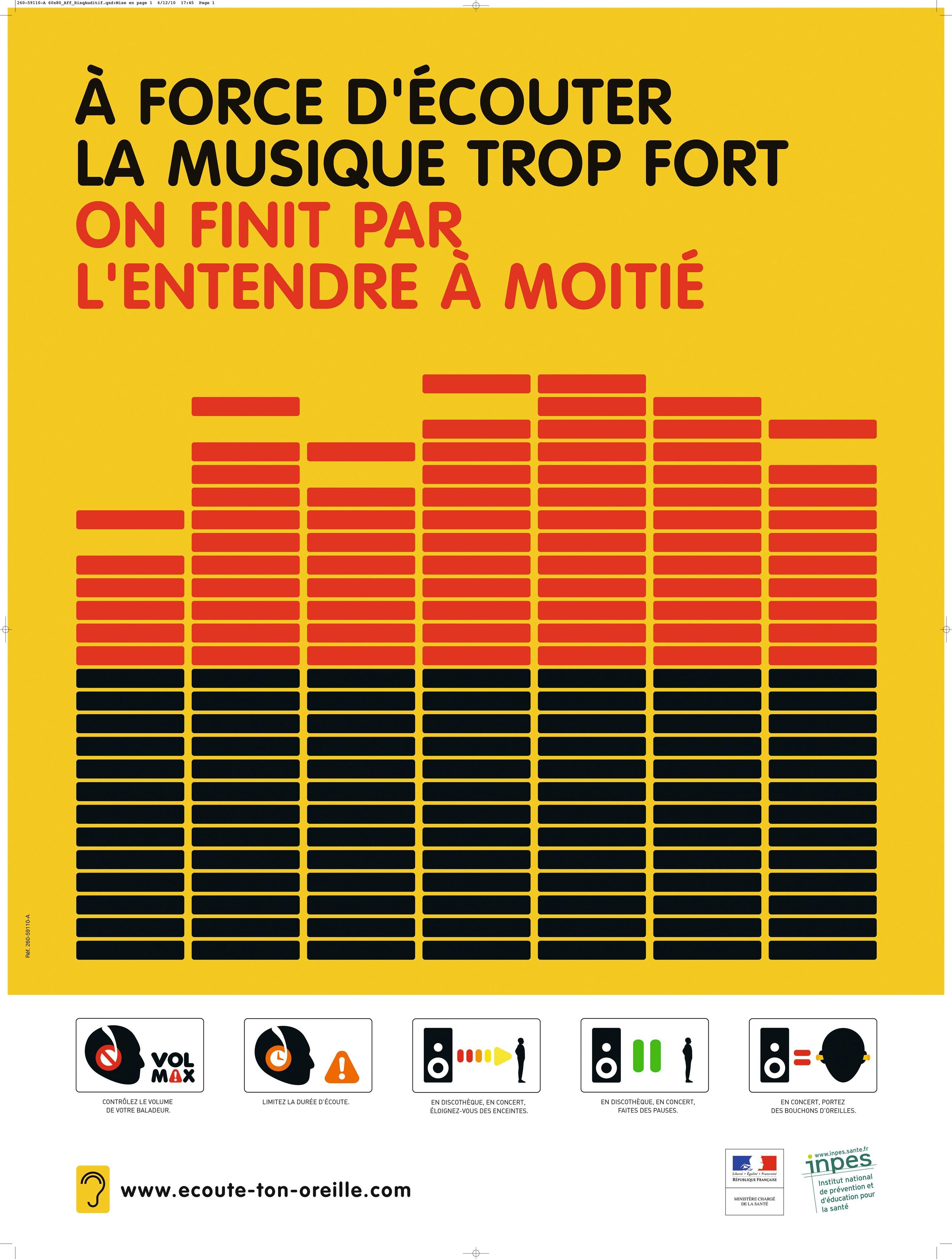 Affiche de prévention sur les risques auditifs liés à l'écoute de musique