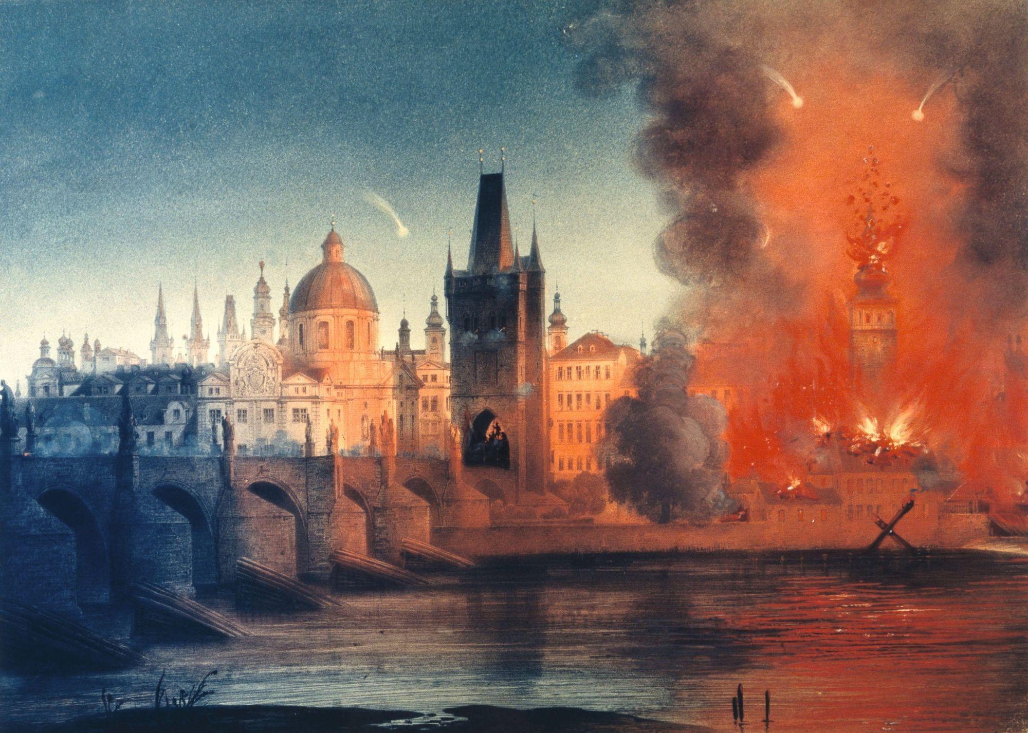 Bombardement de Prague, 1848, lithographie, 33,6 x 45,8 cm, Wien Museum, Vienne.