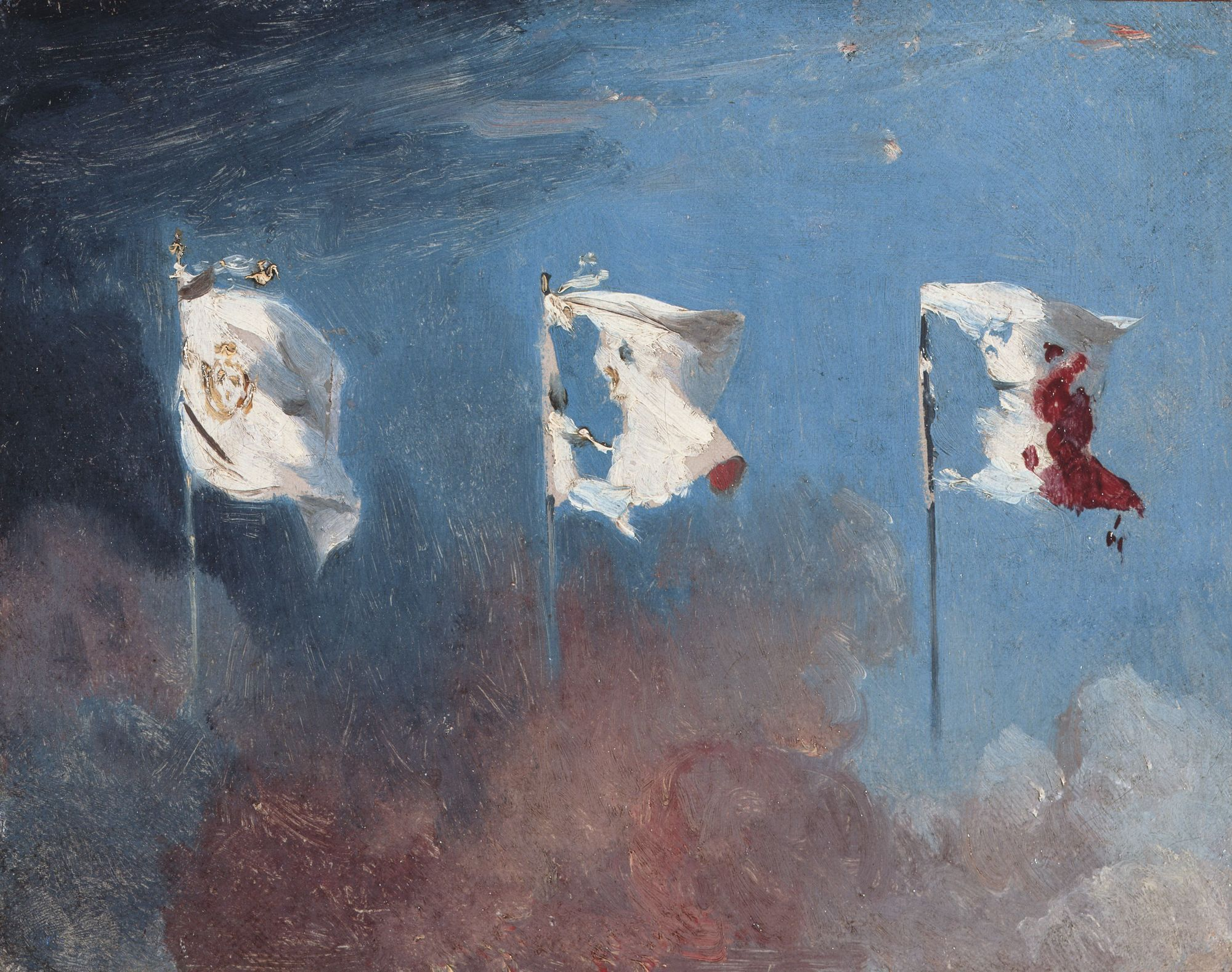 Léon Cogniet, Scène de juillet 1830, dite aussi Les Drapeaux, 1830, huile sur toile, 19 x 24 cm, musée des Beaux-Arts, Orléans.