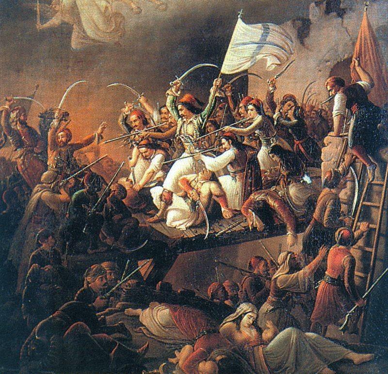 Theodors Vryzakis, La Sortie de Messologhi, 1853, huile sur toile.