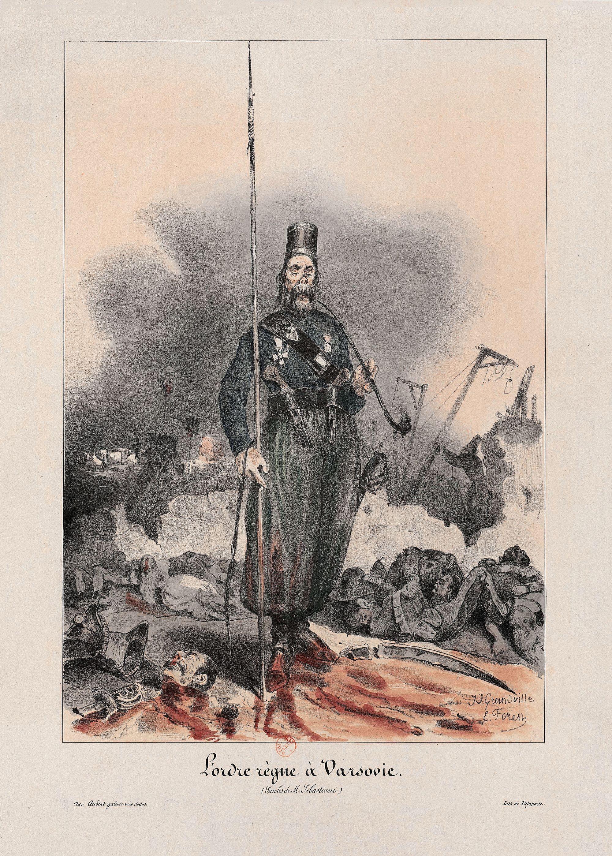 Michel Delaporte et Jean-Jacques Grandville, L'ordre règne à Varsovie, 1831, estampe, 28,6 x 19,8 cm, BnF, Paris.