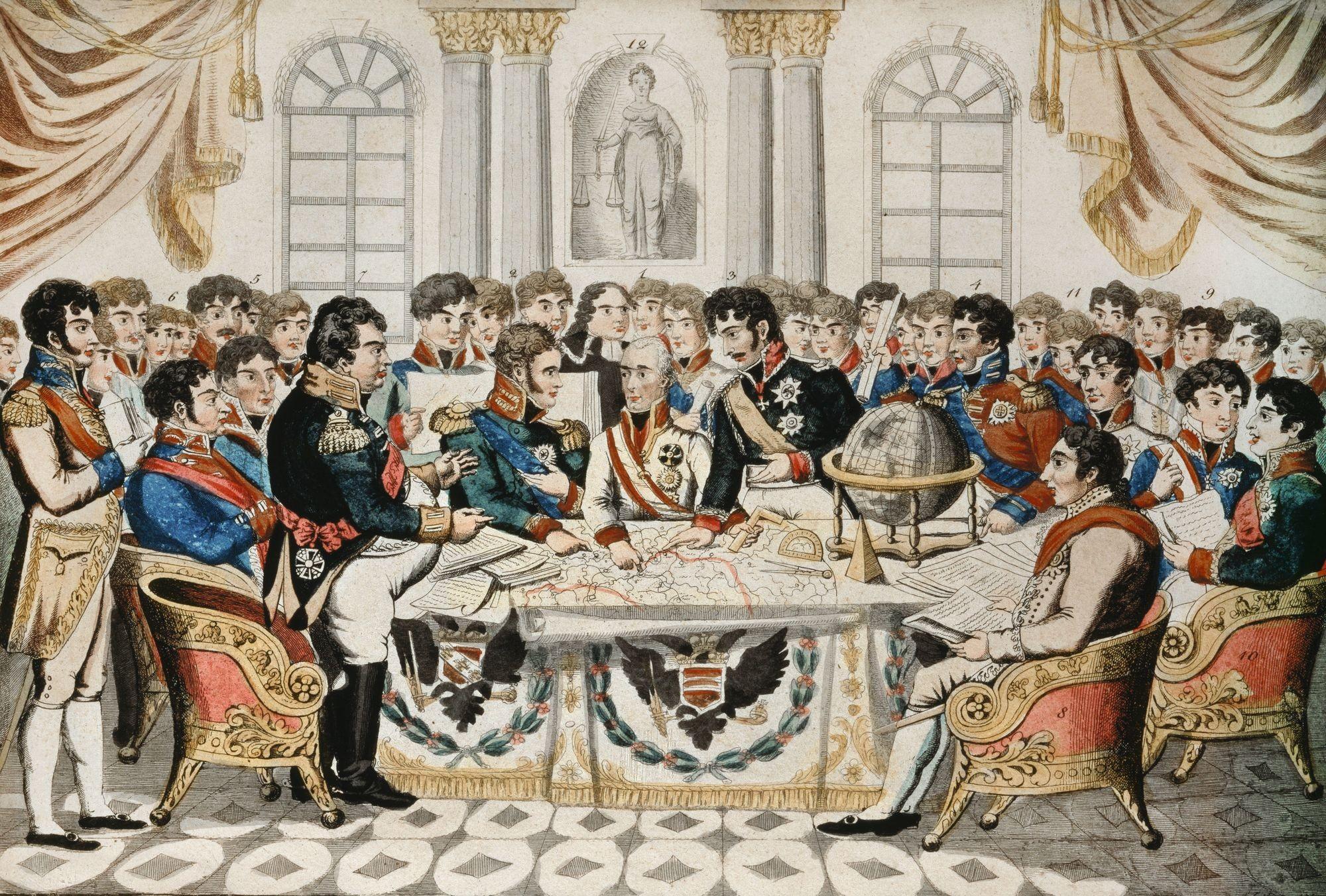 J. Zutz, Le Grand Congrès de Vienne pour la restauration de la paix et du droit en Europe, v. 1815, eau-forte coloriée, 17,9 x 24,5 cm, Museum der Stadt, Vienne.