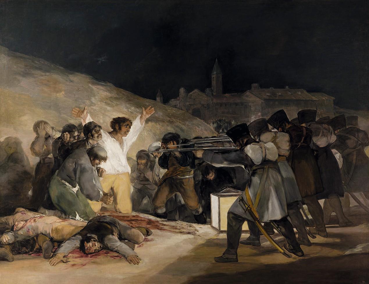 Francisco de Goya, El tres de mayo de 1808 en Madrid (le trois mai 1808 à Madrid), 1814, huile sur toile, 266 × 345 cm, musée du Prado, Madrid.