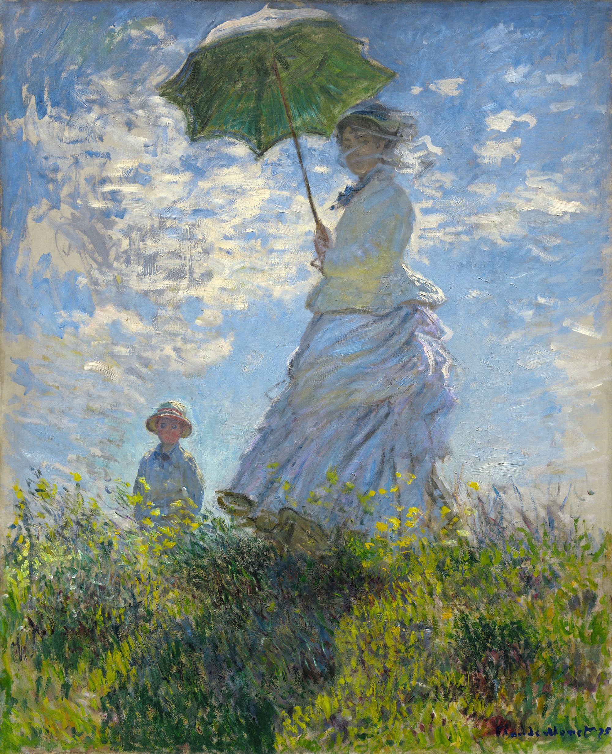 Claude Monet, La Promenade ou La Femme à l'ombrelle, 1875, huile sur toile, 100 × 81 cm, National Gallery of Art, Washington.