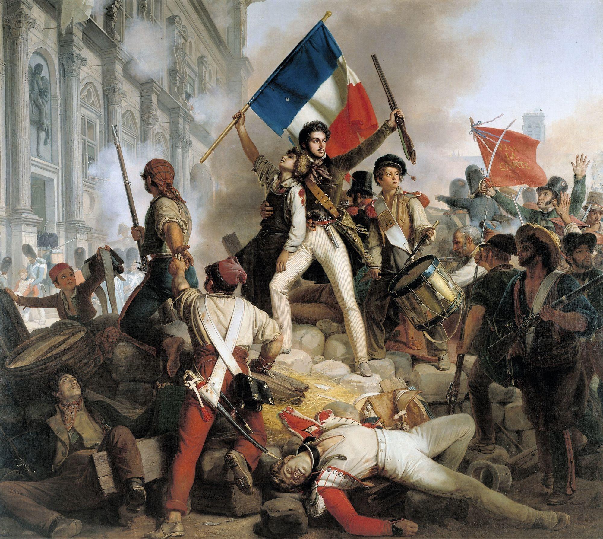 Jean-Victor Schnetz, Combats devant l'Hôtel de Ville, 1833, huile sur toile (détail), 48 x 50 cm, musée du Petit Palais, Paris.