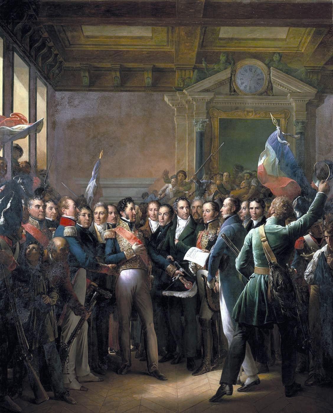 François Gérard, Lecture de la déclaration des députés proclamant le duc, 1836, huile sur toile (détail), 550 x 442 cm, musée du Château de Versailles.